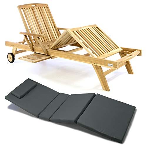 Nexos Divero Sonnenliege Holzliege Gartenliege Teak-Holz unbehandelt mehrfach verstellbar inkl. Räder Tablett + Liegen-Auflage 4-teilig wasserabweisend (Farbe wählbar) (Anthrazit)