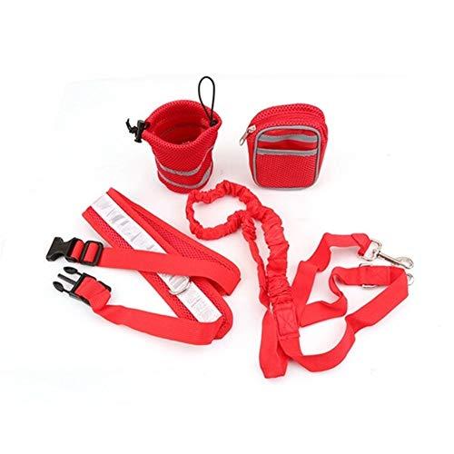 Collar de correa para perro con cinturón elástico para correr, juego de correas para perros, accesorios para mascotas, arnés para perros y cachorros (color: rojo, tamaño: M)