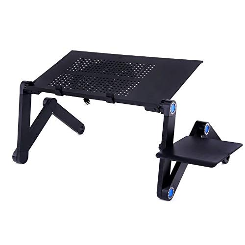 Venera E6 Multifunction Foldable Laptop Table Ergonomics Design & Adjustable Legs with Mouse Pad Adjustable Laptop Stand Aluminum Alloy Laptop Stand for Sofa Bed and Couch Portable Reading Stand