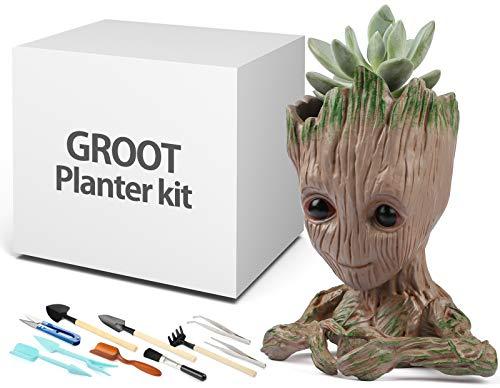 Macetero grande con juego de herramientas, diseño de árbol y hombre, modelo de jardín, maceta para suculentas, bolígrafo guardianes de la galaxia