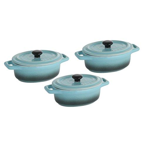 Axentia 127618 Set di 3 vasetti con coperchio pietra blu / nero 15 cm