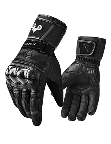 INBIKE Winter Goat Skin Leather Motorcycle Gloves,Waterproof Windproof Cold Weather Thermal Black...