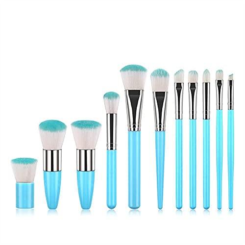 Monnstar Juego de 11 brochas de maquillaje con mango de bambú para base de maquillaje, polvos, colorete, corrector, sombra de ojos, azul, medium,