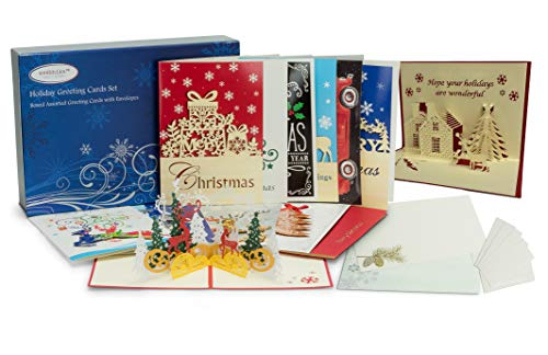 24 Christmas Cards Boxed | Handmade Xmas cards and 3D Christmas Cards with Envelopes | Includes Money and Gift Card Holder Stickers