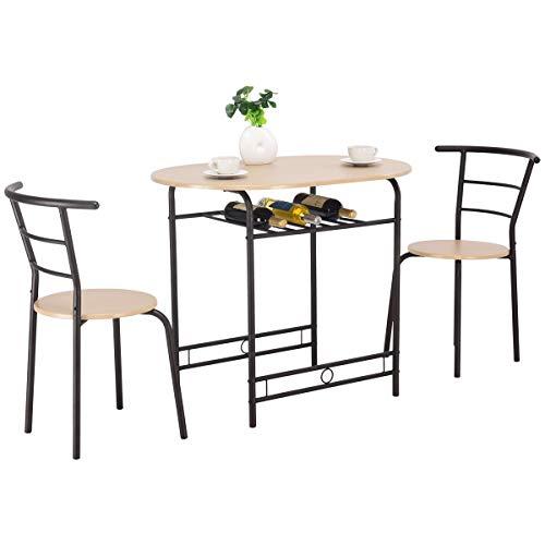 COSTWAY Juego de 3 Piezas Mueble para Comedor 1 Mesa y 2 Taburete Set para Cocina de Madera y Metal (Naturaleza)