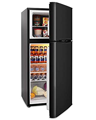 ADT Fridge with Freezer 4.5 Cu.Ft Mini Fridge with 7 Temp Settings, 4 Shelves and 1 Basket (Black)