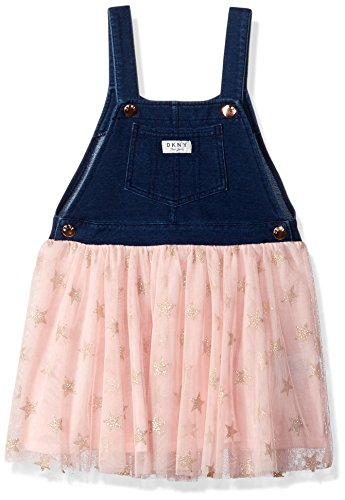 DKNY Girls' Big Casual Dress, French Terry Color Block Light Heather Grey, 8/10