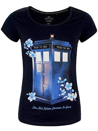 Doctor Who Camiseta Mujer Floral Tardis Algodón Azul - XL