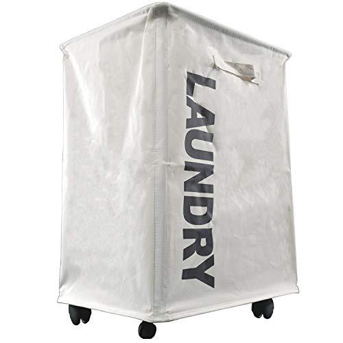 Large Laundry Hamper Drawstring Waterproof Round Cotton Linen Collapsible Storage Hamper White  L