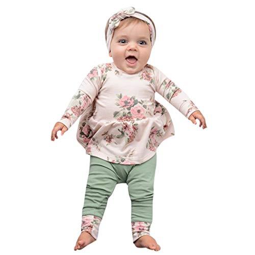 Mbby Tuta Neonato Primaverili, 3-24 Mesi Completo Bambino Ragazze Ragazza 3 Pezzi Tute Maglietta Stampe A Fiori + Pantaloni + Fascia per Capelli Set Cotone (6-12Mesi, Verde)