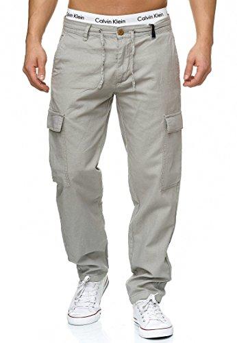 Indicode Herren Leonardo Cargohose aus 55% Leinen & 45% Baumwolle m. 6 Taschen | Lange Regular Fit Cargo Hose Baumwollhose Leinenhose Freizeithose Bequeme Stoffhose f. Männer Lt Grey L
