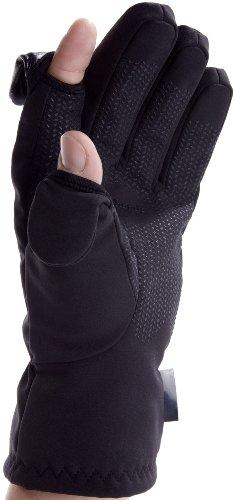 Unisex Ski- und Fotografie Handschuhe. Zurückklappbare und magnetverschliessbare Fingerenden mit Reissverschlusstasche für Memory Cards (Small EU 8)
