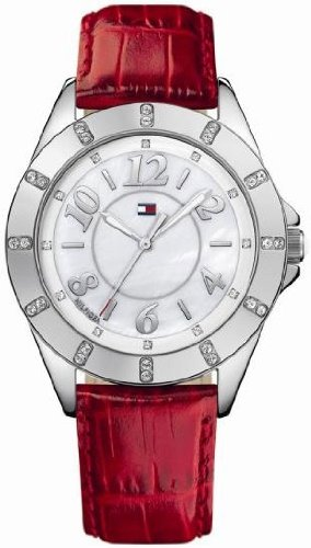 Tommy Hilfiger 1781038 - Reloj analógico de Cuarzo para Mujer con Correa de Piel, Color Rojo