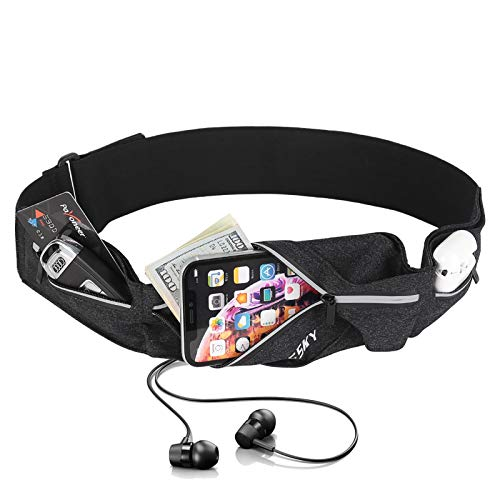 Elastic Running Belt 3 Pocket Waist Pack Pouch Fanny Pack to Hold Cell Phones Up to to 6.5', Keys, Airpods and more, Sweatproof Fitness Workout Pouch for Running, Jogging, Outdoor Sports and Gym