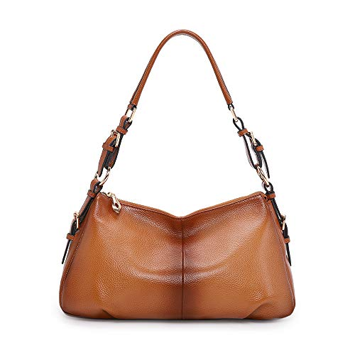 Kattee Soft Leather Hobo handbags for Women, Genuine Top Handle Vintage Shoulder purses(Sorrel)