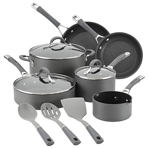Circulon 83914 Radiance Hard Anodized Nonstick Cookware Pots and Pans Set, 12 Piece, Gray Image