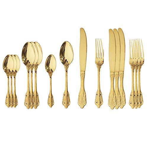 FDSJKD 16pcs Silver Silverware Set 304 Stet Cutlery Set de Acero Inoxidable Conjunto de Cubiertos Occidental Cuchillo DE Cuchilla Cuchilla Cuchilla DE Lujo VECTURA VINTAJE (Color : 16Pcs Gold)