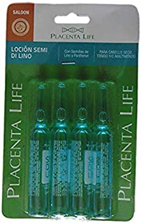 PLACENTA LIFE INTENSE HAIR TREATMENT WITH FLAXSEED AND PANTHENOL FOR DRY, COLORED AND DAMAGED HAIR X 4 AMPOULES 13ml/0.44 fl.oz each (Semi Di Lino Lotion)