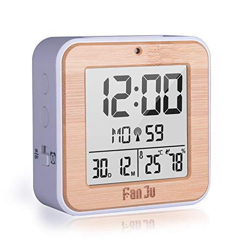 FanJu FJ3533W LCD Digital Funkwecker Kleiner mit Doppelalarm / Batterie Betrieben Wecker/ Auto-Nachlicht / Innentemperatur und Luftfeuchtigkeit / Datum / Funkwecker Uhr für Zu Hause.