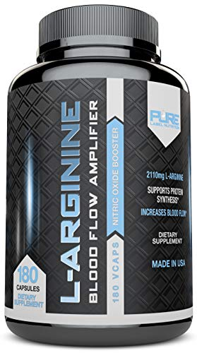 Pure Label Nutrition - L-Arginine Supplement, 2110 mg Superior Nitric Oxide Booster for Increased Blood Flow, Vascularity and Muscle Strength (180 Capsules)
