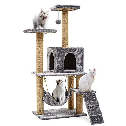 Cat Tree, 140cm Multi-Storey Cat Tree Frame Housing Furniture Cat Activity...