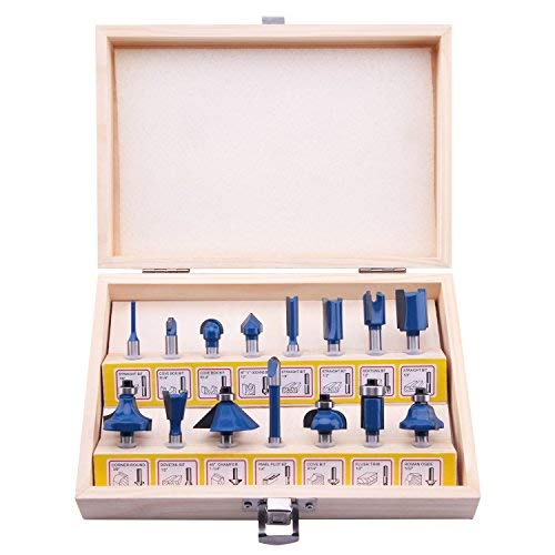 LU&MN Carbide Tipped Router Bits (15 PCS) with 1/4' Shank, Wood Milling Saw Cutter, All Purpose...