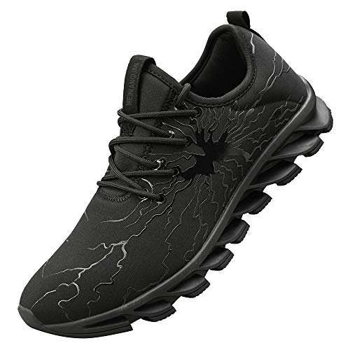 Honnesserry Men's Non Slip Work Shoes Graffiti Fashion Sneakers Lightweight Breathable Slip Resistant Athletic Running Walking Tennis Gym Shoes Black 8.5