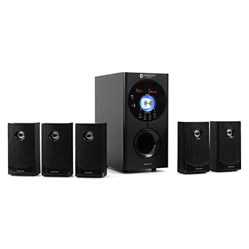 auna Concept 620 Home Edition - Système Son Surround 5.1, Home cinéma, Sidefiring-Subwoofer 16,5cm (6,5'), Bassreflex, 95 Watt RMS, 5 Enceintes Satellites 8cm (3'), BT, Port USB, Noir