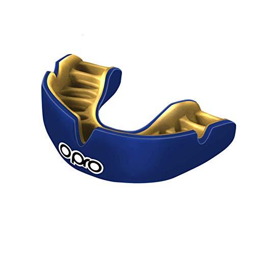 Opro Power-Fit | Adult Handmade Mundschutz | Gummischild für Rugby, Hockey, Lacrosse, Boxen und andere Kontakt - und Kampfsportarten (ab 10 Jahren) | 18 Monate zahnärztliche Garantie (Dunkelblau/Gold)