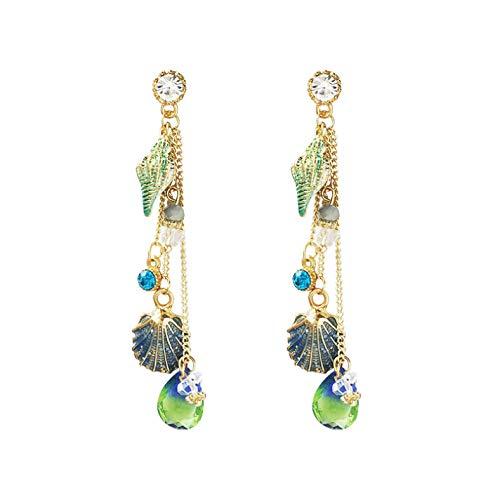 Empty dames Bohemen lange kwasten kristal mode temperament metalen schelpen meerkleurige oorbellen sieraden
