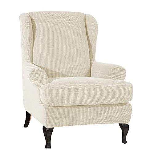 SYLC 2-Stück Ohrensesselbezug Wasserdicht, Ohrensessel Schonbezug Set Stretch, Sesselbezug Ohrensessel Mit Kissenbezug (Beige)