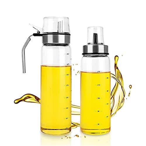 Olivolja dispenser flaska, 2 st 500 ml olja kryddbehållare, läckagesäker klar glas matlagning olja droppkork med rostfritt stål med skala för kök och grill (500+300 ml)