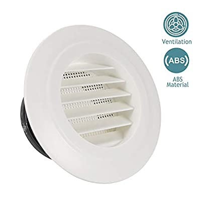 HG POWER Round Air Vent ABS Louver Grille Cover White Soffit Vent with Built-in Fly Screen Mesh for Bathroom Office Kitchen Ventilation