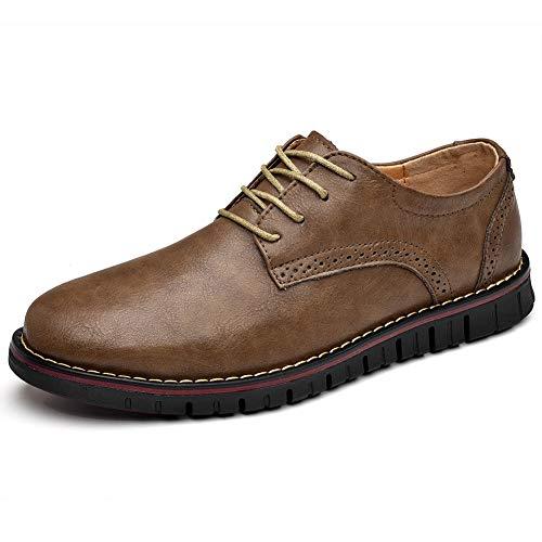 Moodeng Zapatos de Cordones Derby para Hombre Zapatos de Cuero Brogue Oxford Negocios Vestir Informal Boda Calzado Holgazanes