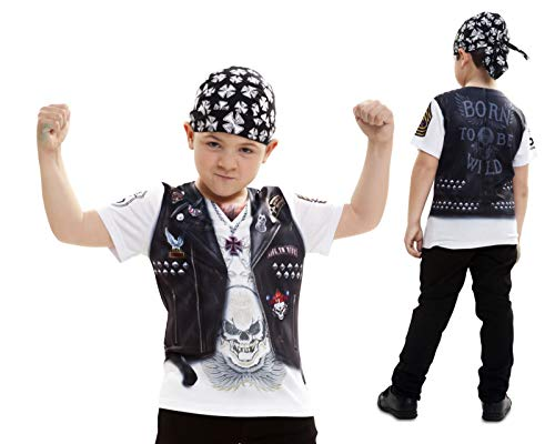 Disfraz Camiseta de Motero Original de Carnaval para niño de 6-8 años de Microfibra - LOLAhome