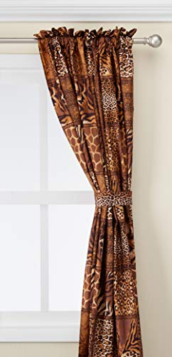 WPM 4 Piece Curtain Set: 2 Jungle Safari Brown Giraffe Zebra Panels & 2 Tie Backs