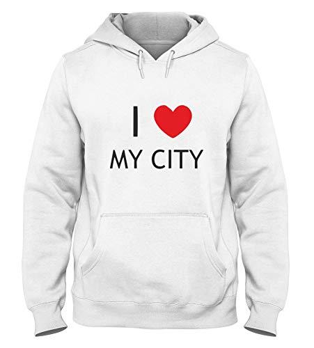 T-Shirtshock Felpa Cappuccio Uomo Bianca TDM00112 I Love My City