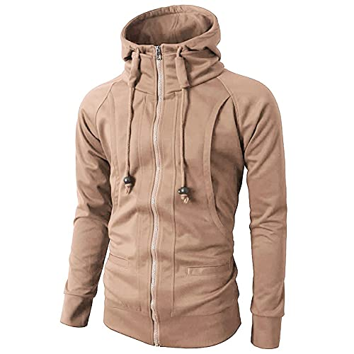 Sudadera con capucha para hombre, estilo casual, con cremallera completa, sudadera con capucha, chaqueta clásica, de manga larga, con múltiples bolsillos, caqui, M