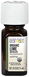 Aura Cacia Certified Organic Pure Lime, Distilled Essential Oil | 0.25 fl. oz. | Citrus aurantifolia