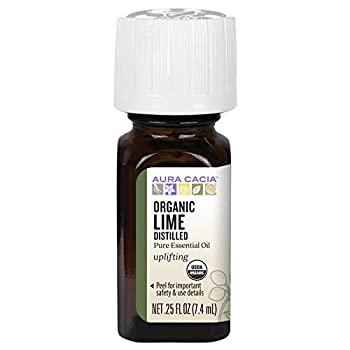 Aura Cacia Certified Organic Pure Lime Distilled Essential Oil | 0.25 fl oz | Citrus aurantifolia