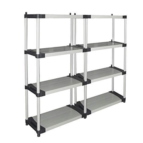 Kreher Set 2 Stück XL Kunststoffregal in Lichtgrau mit Vier Böden pro Regal. Jeder Boden belastbar bis zu 80 kg. Werkzeuglose Montage. Abwaschbar und stabil. Maße pro Regal BxTxH 80 x 40 x 168 cm.