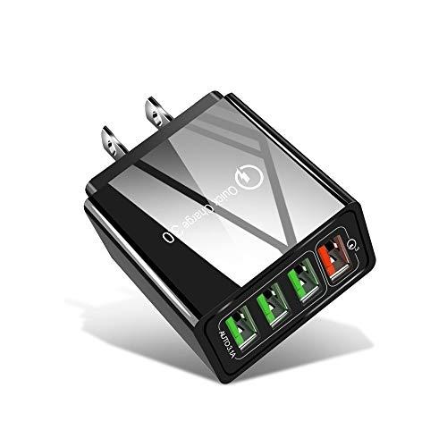 Cargador de teléfono 30W 3.0 USB + 3 Puertos USB 2.0 teléfono móvil Tablet PC Universal Cargador rápido Cargador de Viaje, EE.UU. Enchufe, Liqingshangmao (Color : Black)