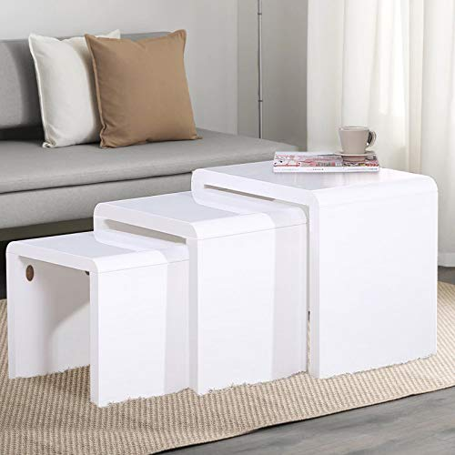 Nest of 3 Tables High Gloss Wood Nesting Tables White Coffee Table Multi-functional Living Room Side End Table