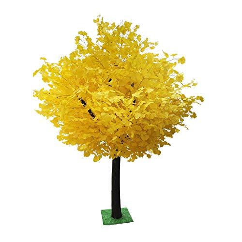 Hkwshop Planta Artificial de Interior Fake Ginkgo Tree Plantas de vegetación Artificial en macetas Árboles Decorativos for el hogar y la Oficina 3.3 pies (Amarillo) Artificial Arbol Decoración