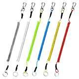 Booms Fishing T04 Fishing Lanyards 6pcs Pack Fishing Tool/Pole Safety Coil Lanyard Retractable...