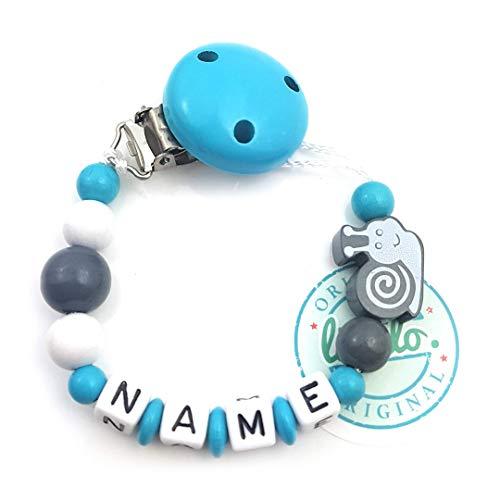 Baby Schnullerkette mit Namen, Schnecke, Blau, Handmade Namenskette/Schnullerhalter zur Geburt, Geburtstag, Taufe für Junge
