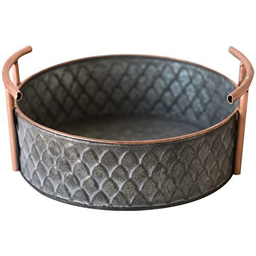 Happy Home Products Bandejas De Metal Hechos A Mano Vintage Fruit Bread Basket Redondo Antiguo con Asas Retro Desk Almacenamiento De Cocina para La Decoración Casera