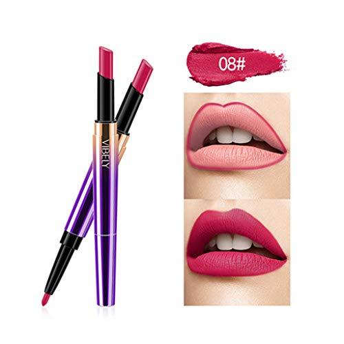 Kolylong Rouge à lèvres Double tête Femme Crayon à lèvres Cosmétique maquillage des lèvres Lining Durable Imperméable lipstick Lipliner Longue Durée Soins à Lèvres cosmétique beauté (H)