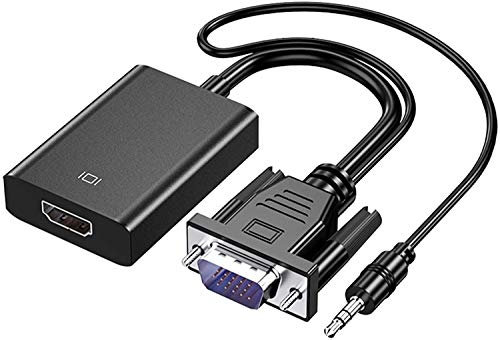 Rec trade VGA to HDMI with Audio Adapter for Connecting Traditional VGA Interface Laptop, PC to HDMI Monitor or Projector,1080P VGA Male to HDMI Female Converter with 3.5mm Audio Lead and Power Supply Port (RTT-ADP-0029)
