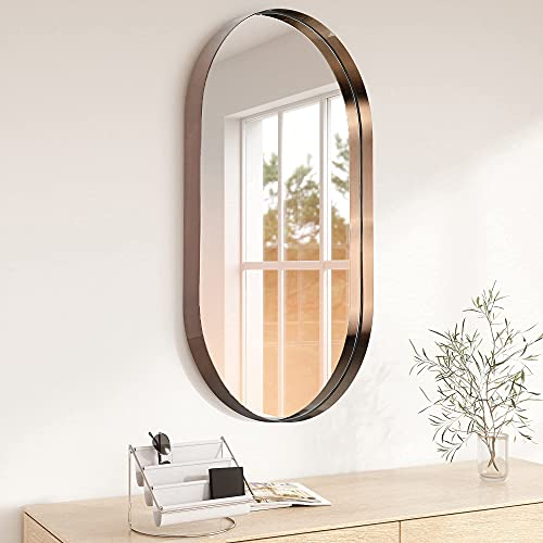 MOTINI Oval Wall Mirror Brushed Antique Brass Bathroom Mirror